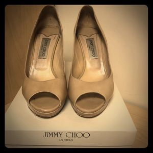 Jimmy Choo Luna Peep Toe Pumps in Nude